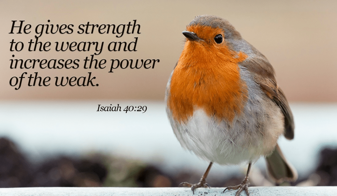 he gives strength to the weary