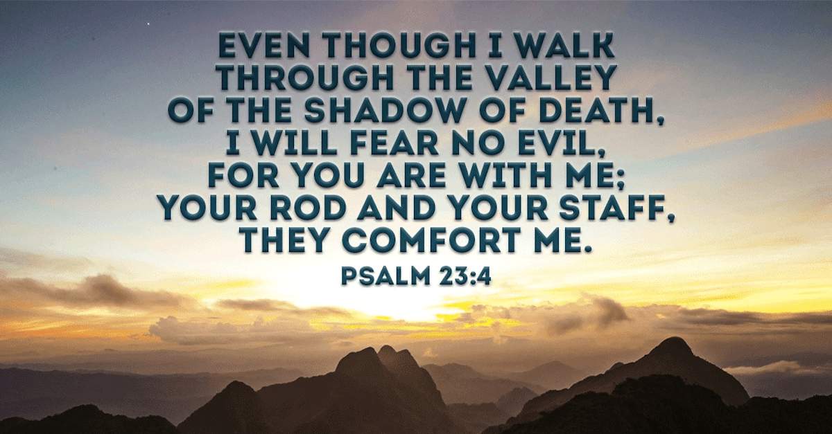 Psalm 23:4 verse against mountain backdrop