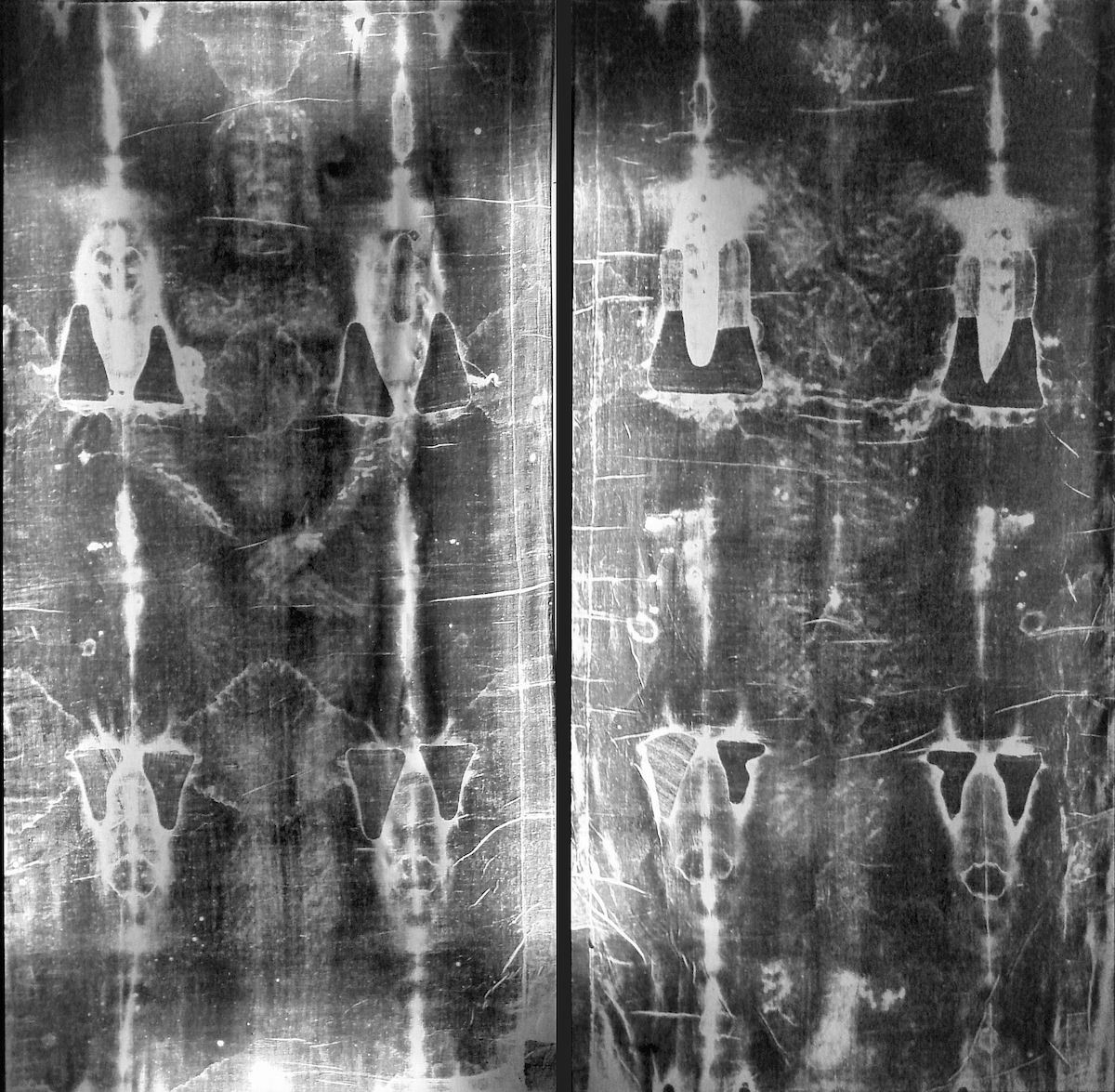 full black and white photo of the shroud of Turin