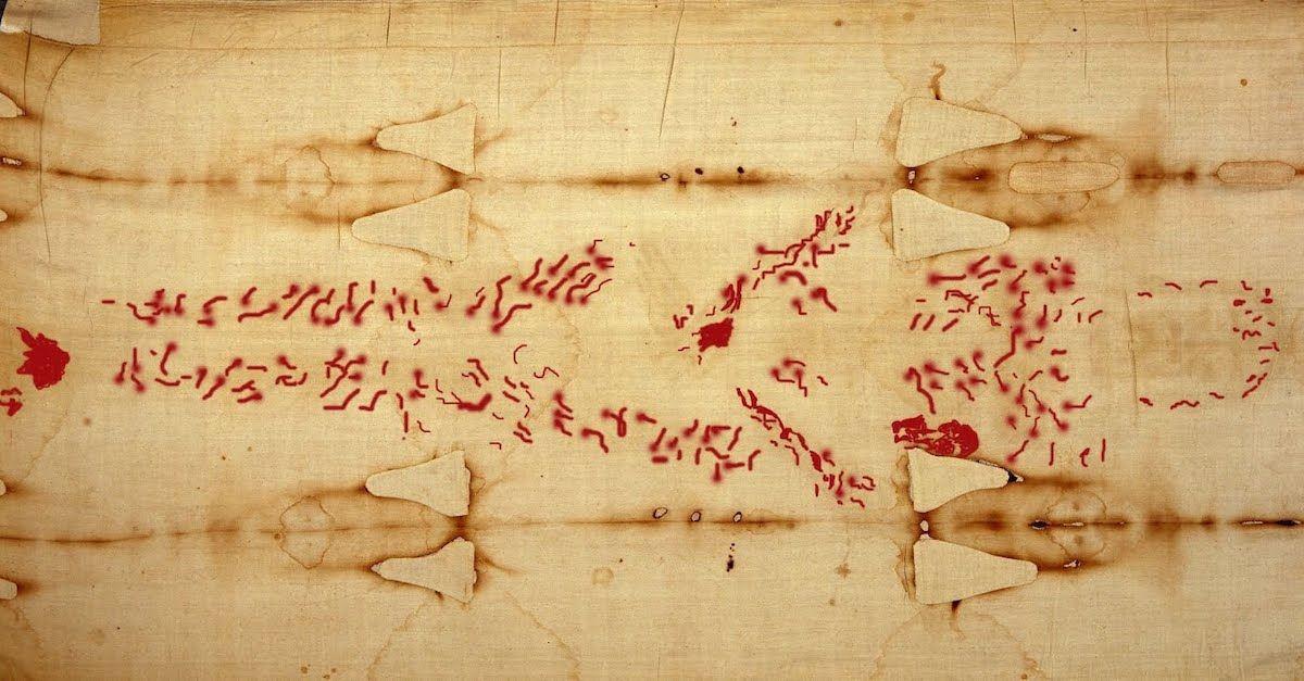 image of shroud with blood marks