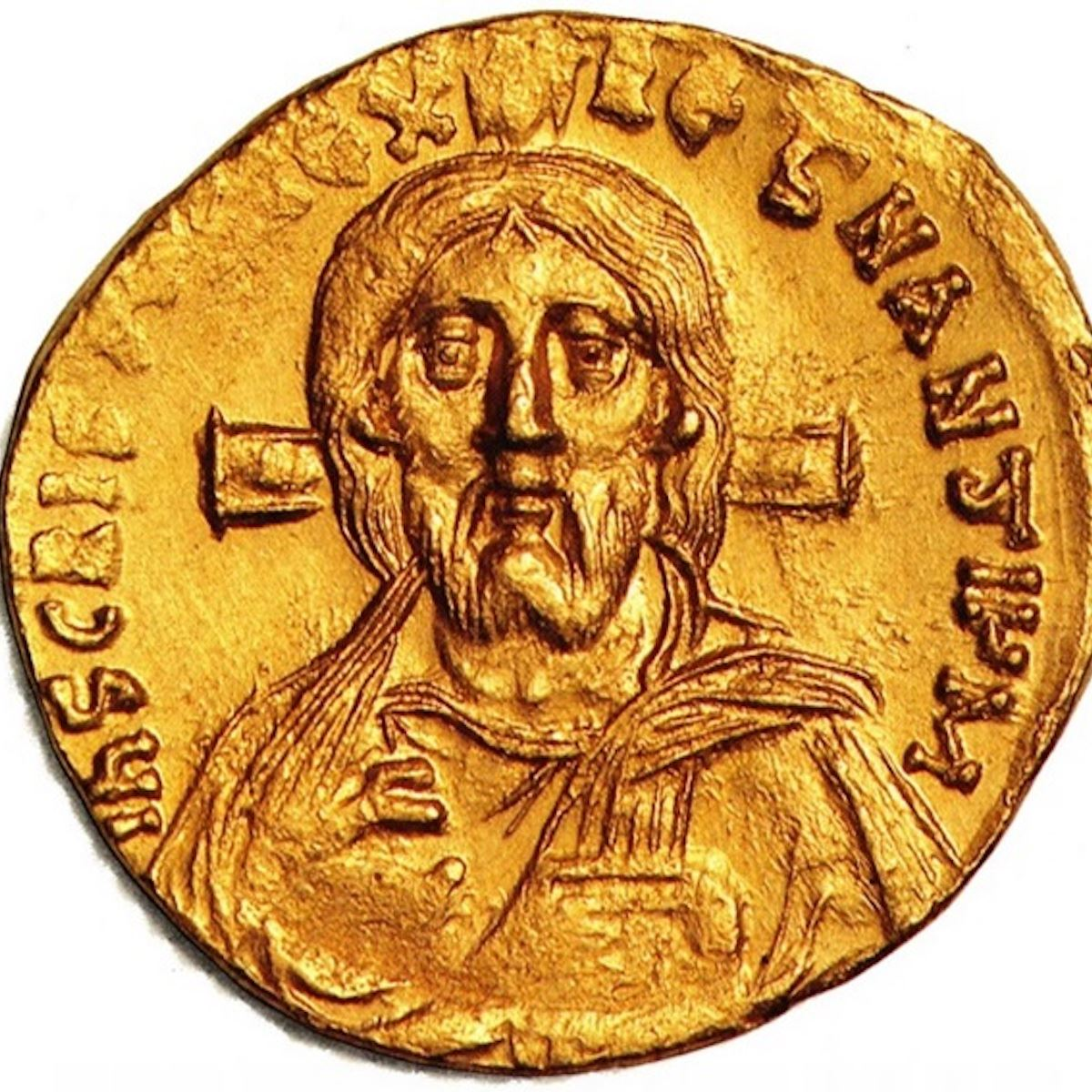 Byzantine era coin dating from AD 692 shows Jesus on a cross bearing a remarkable resemblance to Shroud face