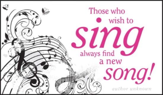 Wish to Sing ecard, online card