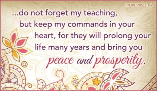 Proverbs 3:1-2 ecard, online card