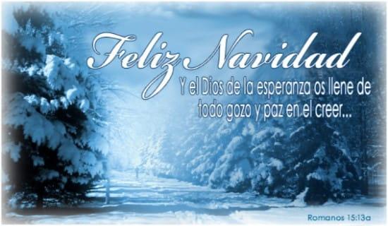 Y el Dios de la esperanza os llene de todo gozo y paz en el creer…  ecard, online card