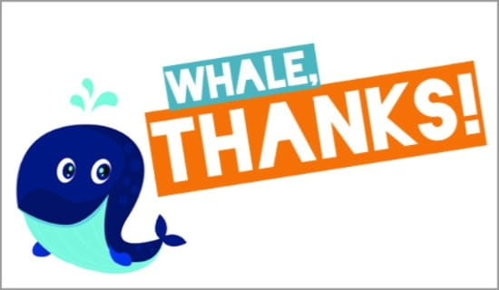 Whale, Thanks! ecard, online card