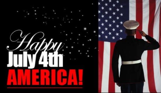 Happy July 4th America ecard, online card
