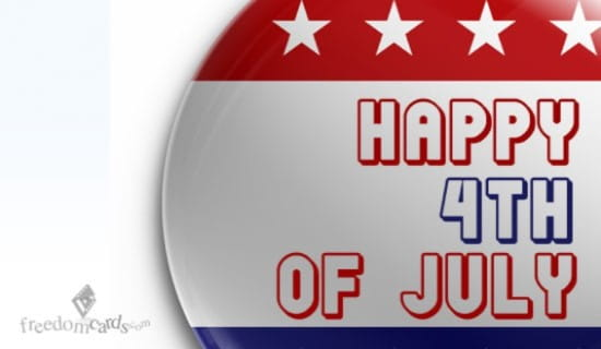 Happy Fourth of July, Button ecard, online card