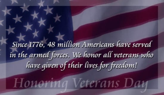 Honoring Veterans Day ecard, online card