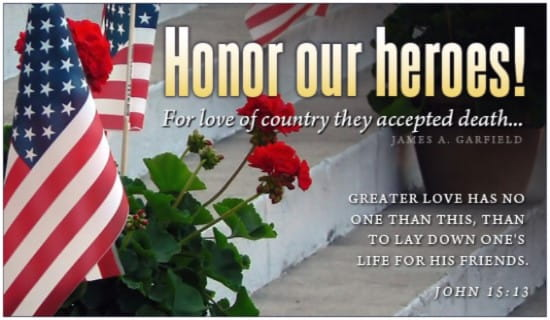 Honor Our Heroes ecard, online card
