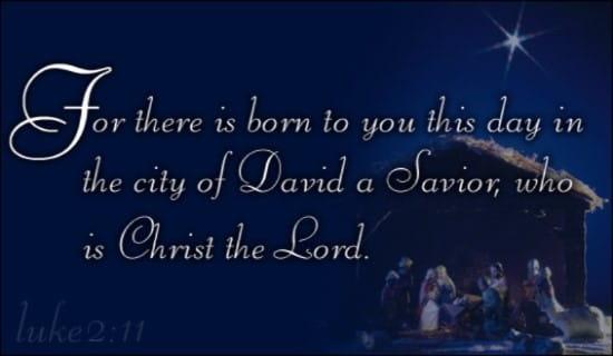 Christmas - Born A Savior ecard, online card