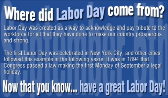 History Of Labor Day ecard, online card
