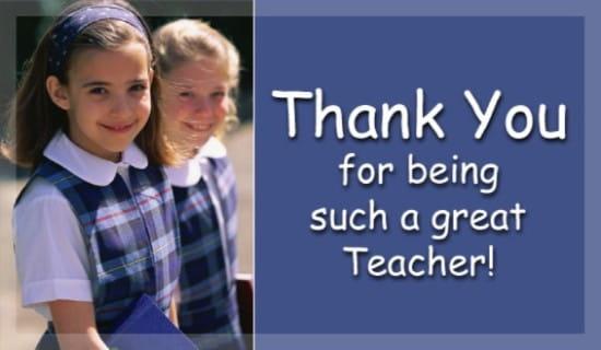thank you for being such a good teacher ecard free teachers day