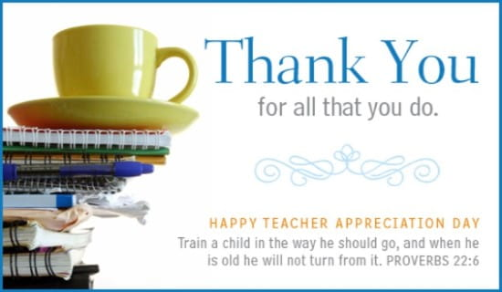 Teacher - Prov. 22:6 ecard, online card