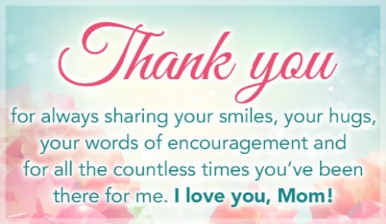 Thank You Mom ecard, online card