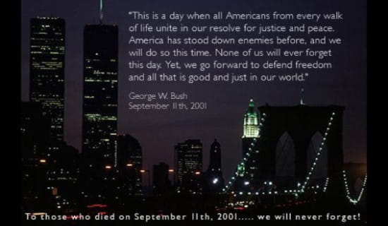 9-11 Bush Quote ecard, online card