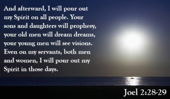 God Will Pour out His Spirit on His People ecard, online card