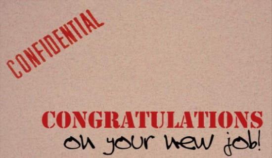 New Job - Confidential ecard, online card