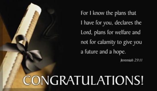 Congrats! Jeremiah 29:11 ecard, online card