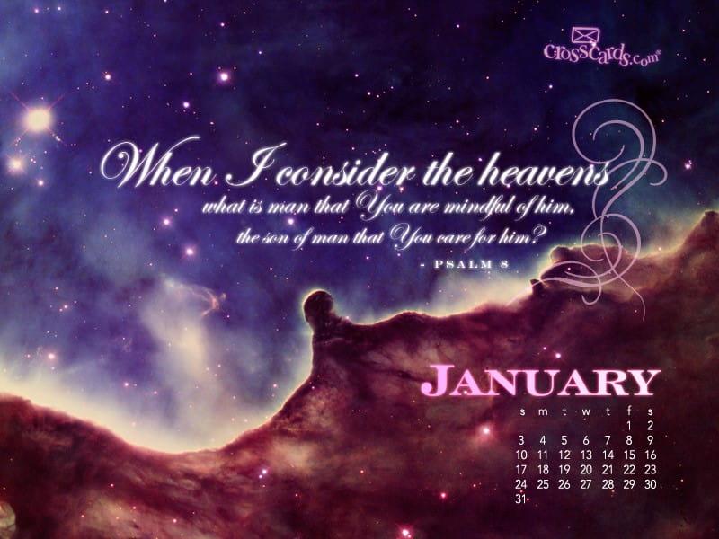 Heavens January 2010 mobile phone wallpaper