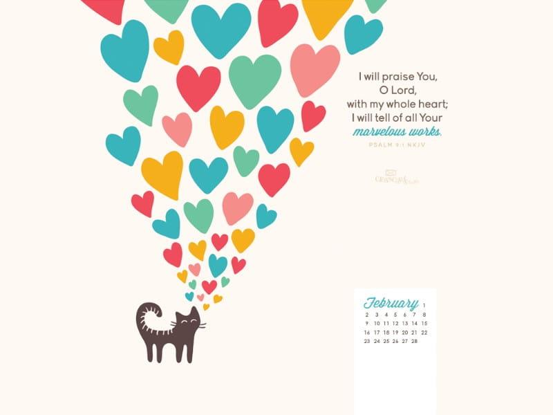 February 2014 - Psalm 9:1 NKJV mobile phone wallpaper