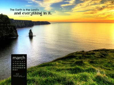 March 2015 - Psalm 24:1 mobile phone wallpaper