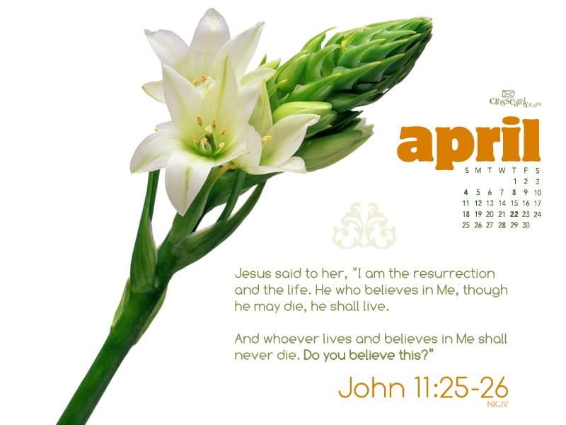 April 2010 - John 11:25-26 mobile phone wallpaper