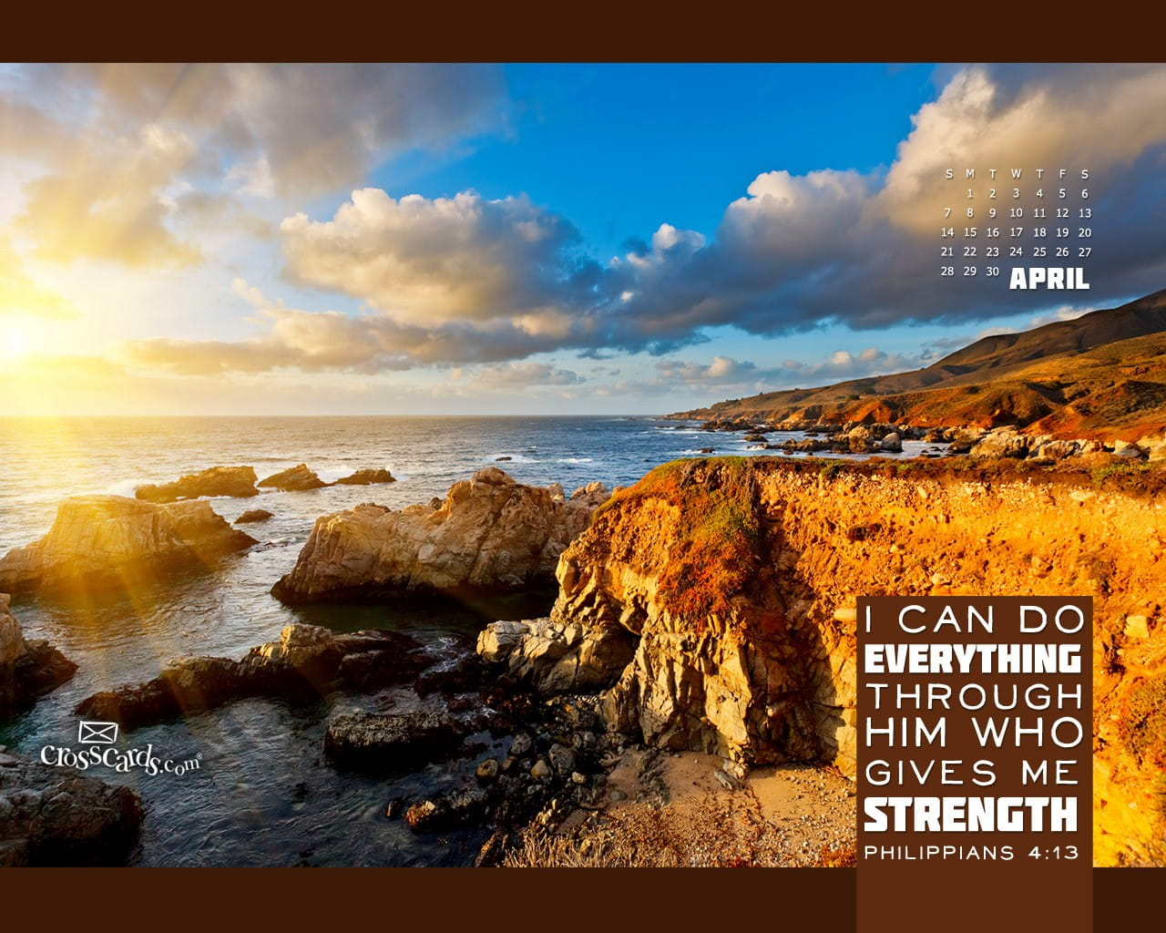 April 2013 Philippians 4 13 Desktop Calendar Free April Wallpaper