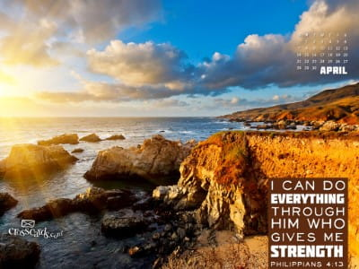 April 2013 Philippians 413 Desktop Calendar Free April Wallpaper