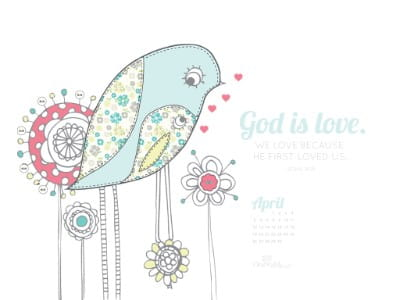 April 2015 - God is Love mobile phone wallpaper