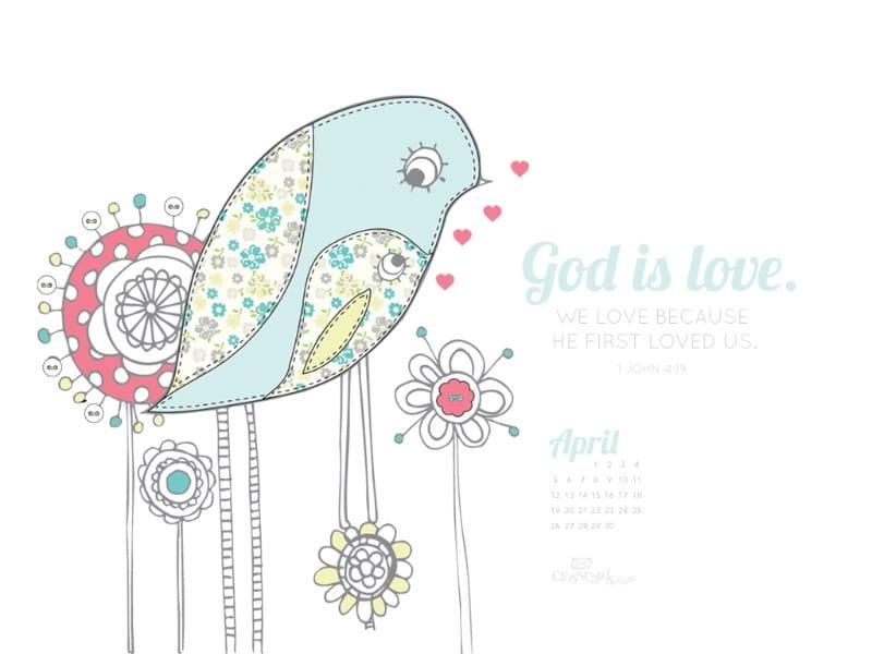 April 2015 - God is Love mobile phone wallpaper