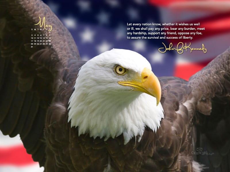 JFK Quote Desktop Calendar- Free May Wallpaper