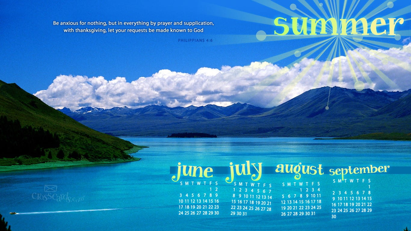 Summer 2012 Phil 4 6 Desktop Calendar Free June Wallpaper