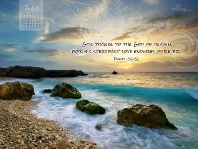 June 2012 - Psalm 136:26 mobile phone wallpaper