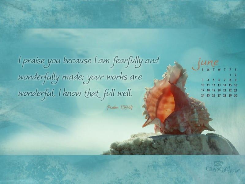 June 2012 - Psalm 139:14 mobile phone wallpaper