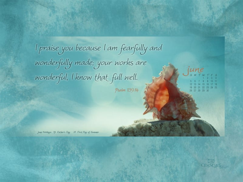 June 2011 - Psalm 139:14 mobile phone wallpaper