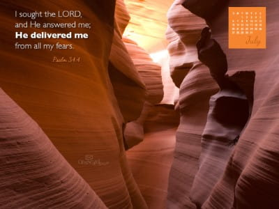 July 2014 - Psalm 34:4 mobile phone wallpaper