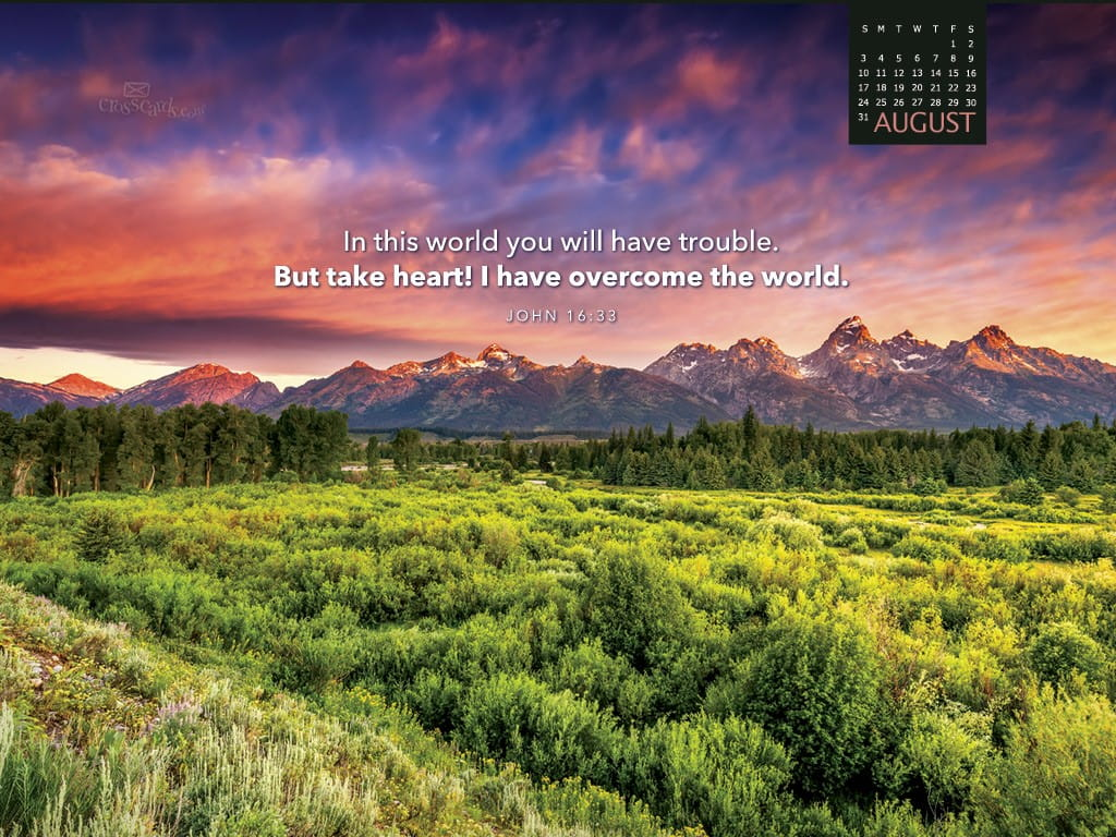 August 2014 john 16 33 desktop calendar free august - Crosscards christian wallpaper ...
