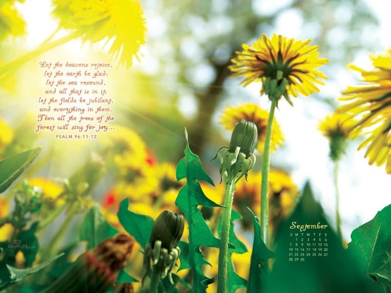 Sept 2014 - Psalm 96:11-12 mobile phone wallpaper