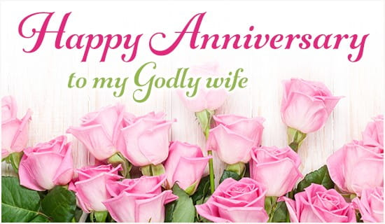 Happy Anniversary to My Godly Wife ecard, online card