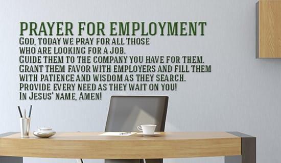 Prayer for Employment ecard, online card