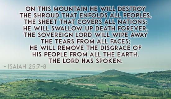 Isaiah 25:7-8 ecard, online card