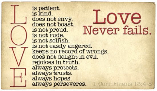 Your Love will NEVER Fail ecard, online card