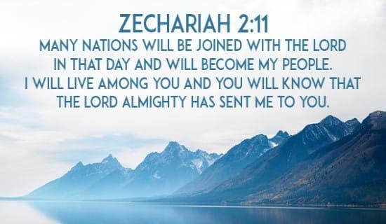 Zechariah 2:11 ecard, online card