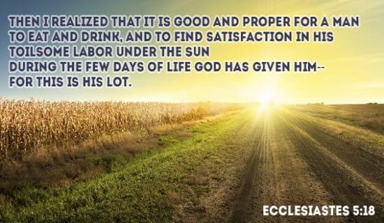 Ecclesiastes 5:18 ecard, online card