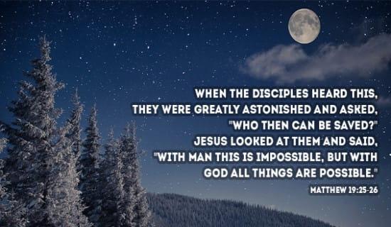 Matthew 19:25-26 ecard, online card