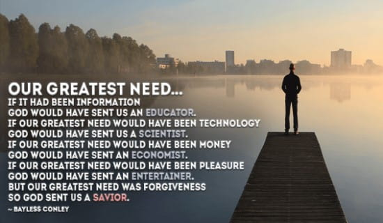 Our Greatest Need is a Savior ecard, online card