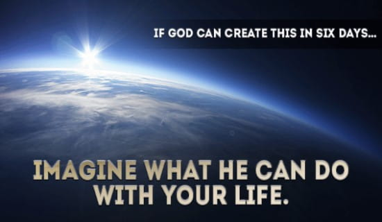 God Created in Six days.. ecard, online card