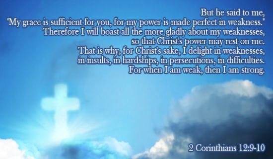 2 Corinthians 12:9-10 ecard, online card