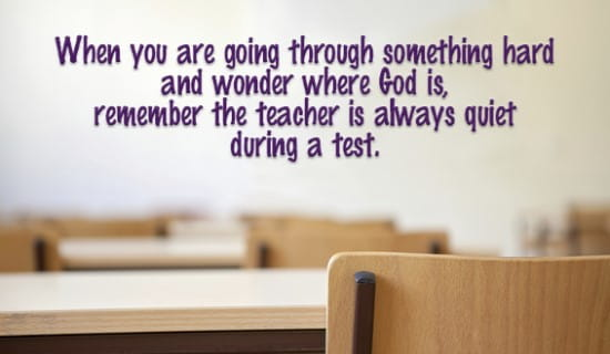What's the teacher doing during a test? ecard, online card