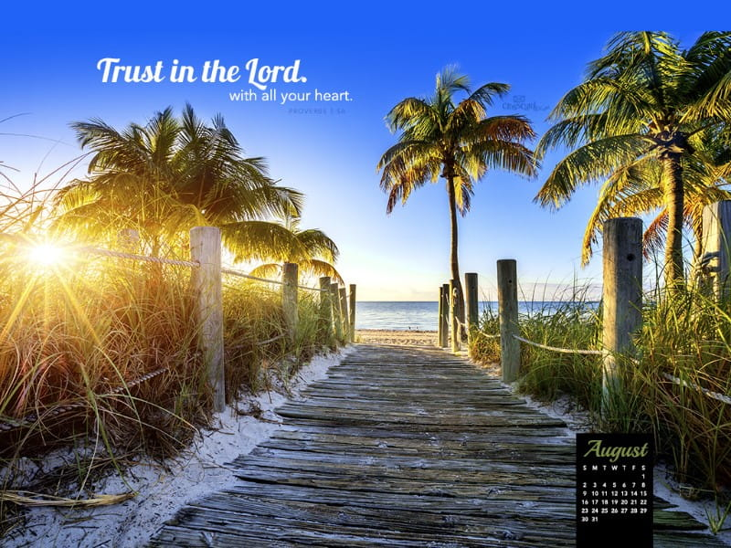 August 2015 - Trust in the Lord mobile phone wallpaper